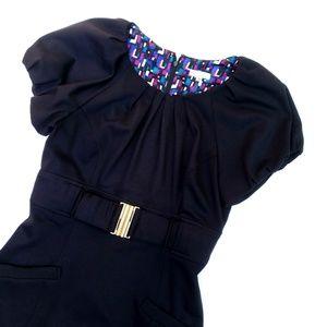 Shoshanna Black Structured Gold Belted Dress